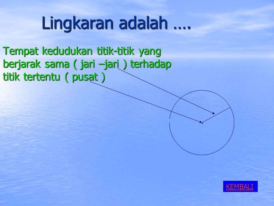Lingkaran adalah …. Tempat kedudukan titik-titik yang berjarak sama ( jari –jari ) terhadap titik tertentu ( pusat )