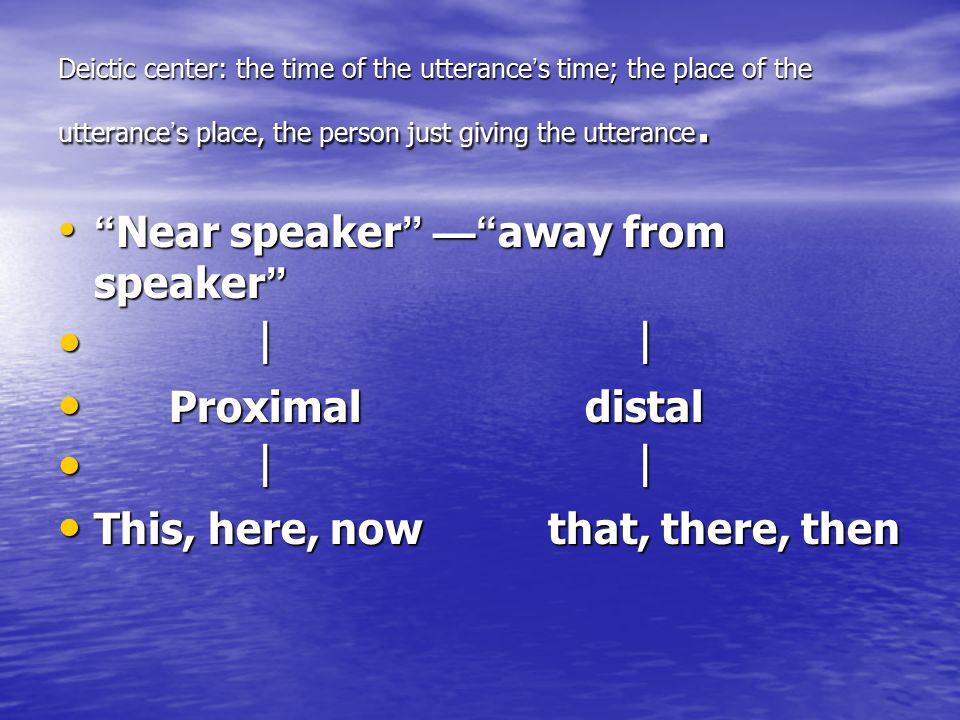 Near speaker — away from speaker ︱ ︱ Proximal distal