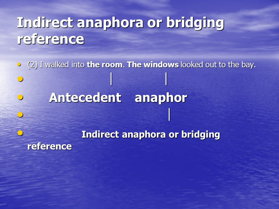 Indirect anaphora or bridging reference
