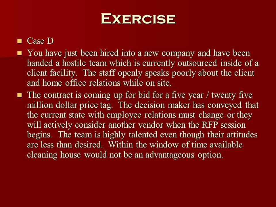 Exercise Case D.