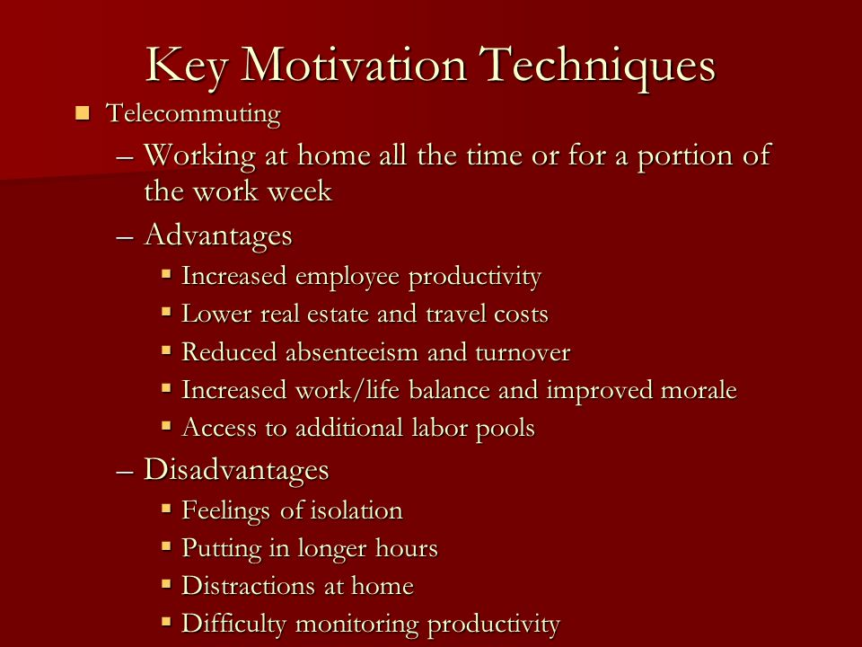 Key Motivation Techniques