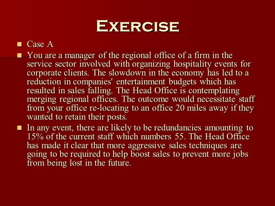 Exercise Case A.