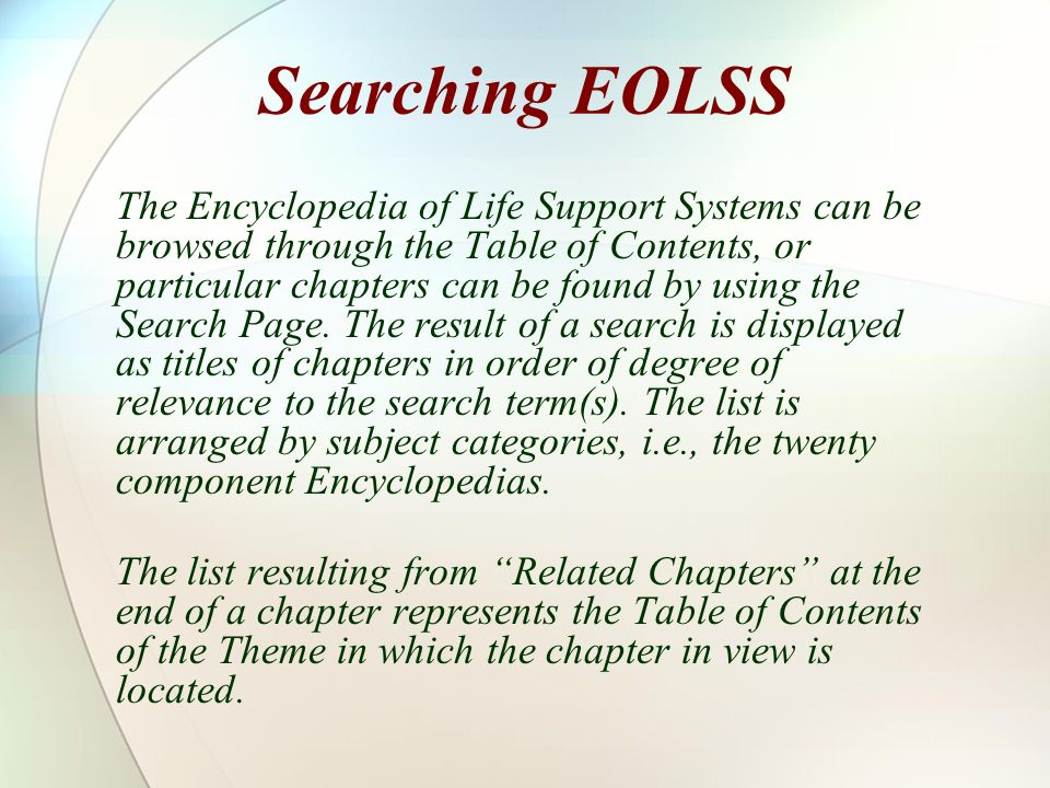 Searching EOLSS