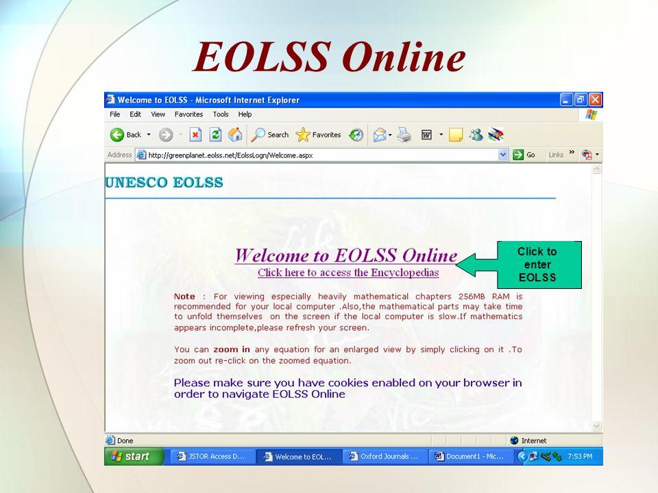 EOLSS Online Click to enter EOLSS