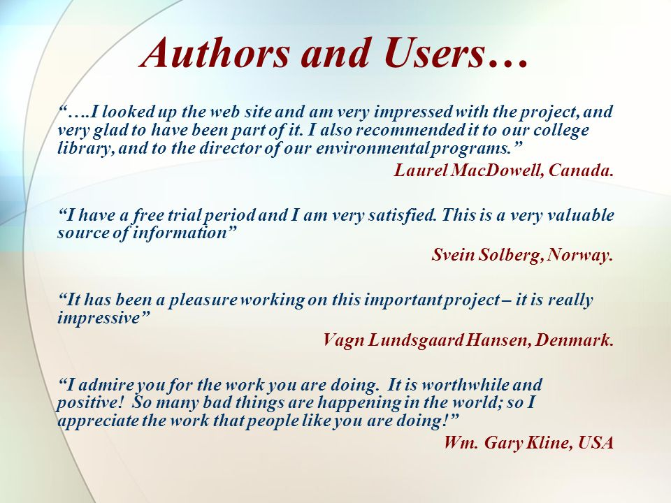 Authors and Users…