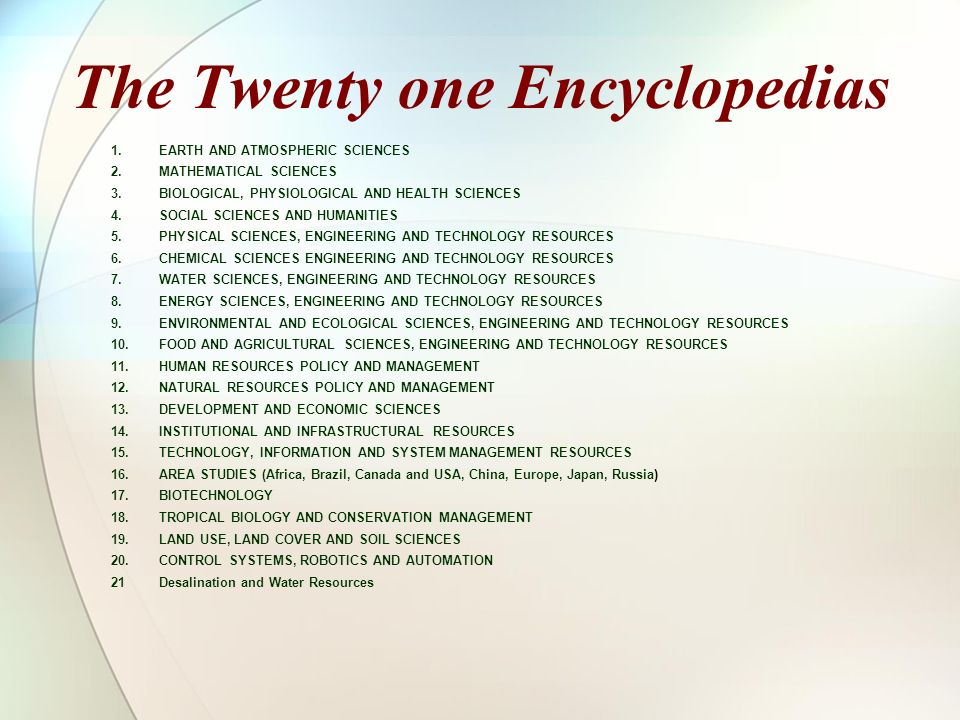 The Twenty one Encyclopedias