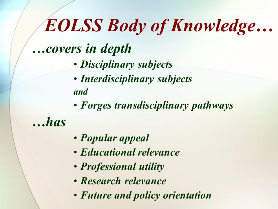 EOLSS Body of Knowledge…