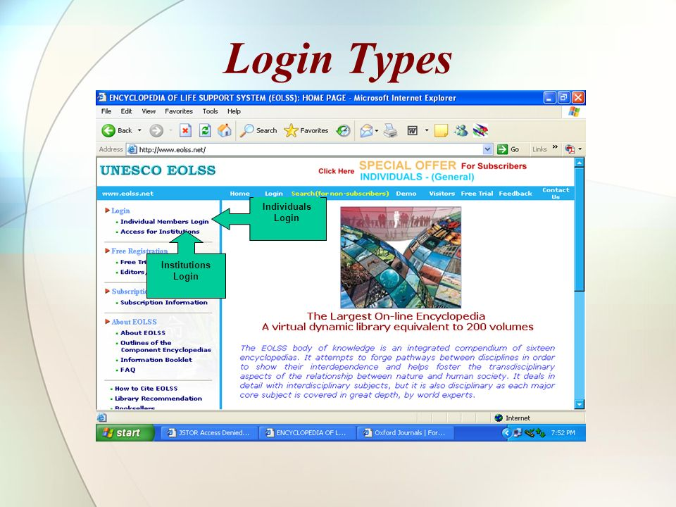 Login Types Individuals Login Institutions Login