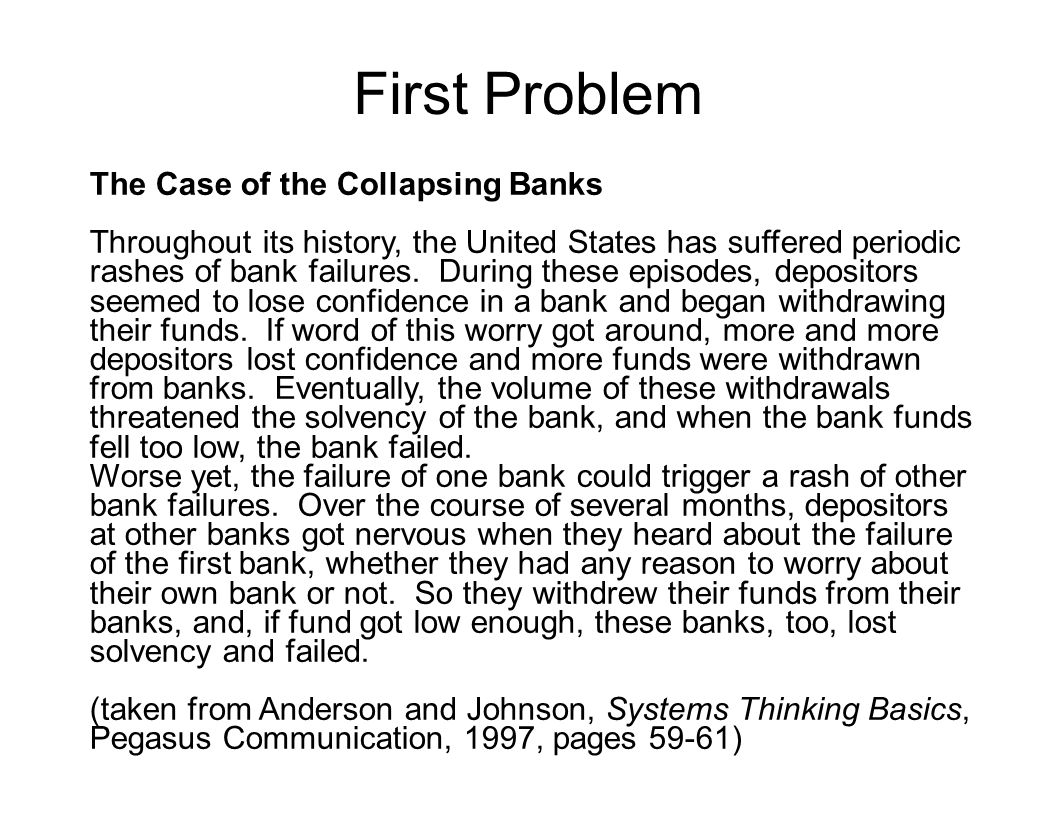 First Problem The Case of the Collapsing Banks