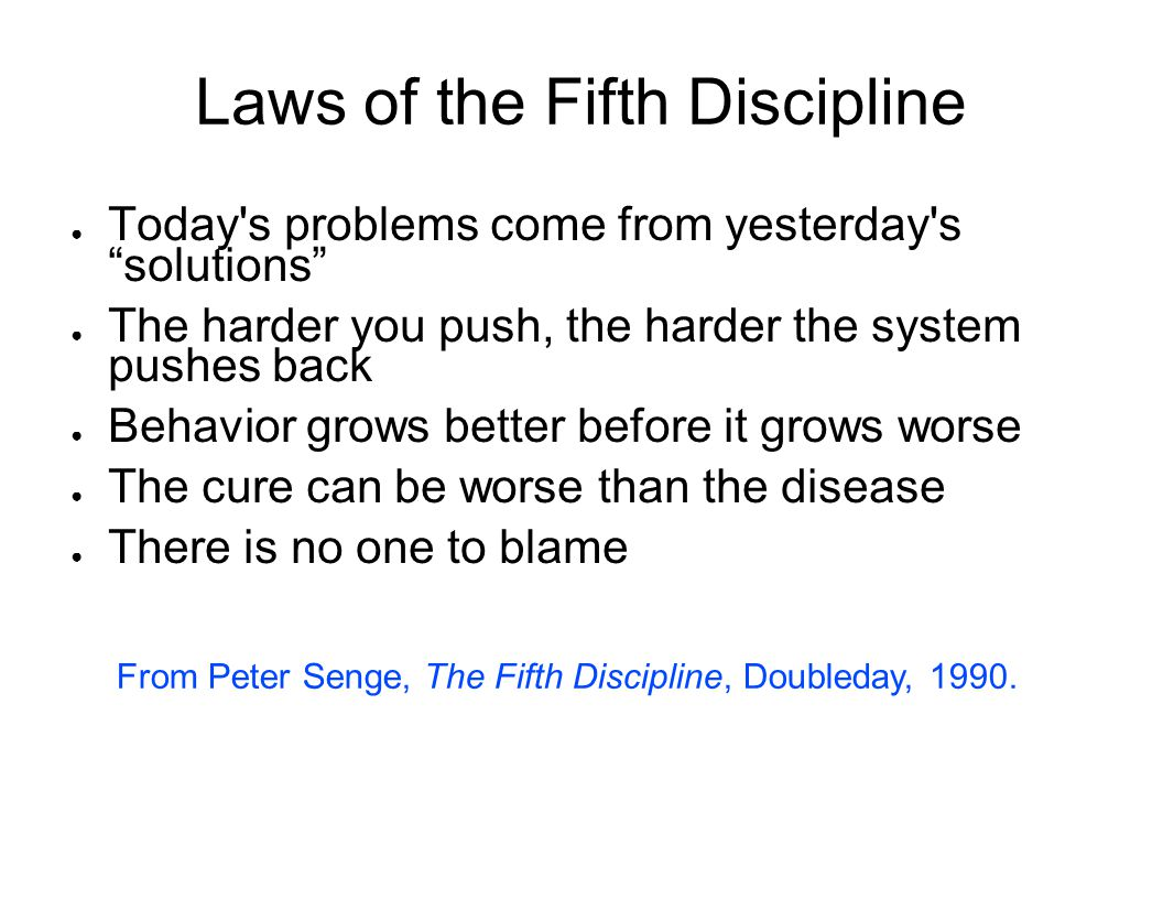 Laws of the Fifth Discipline
