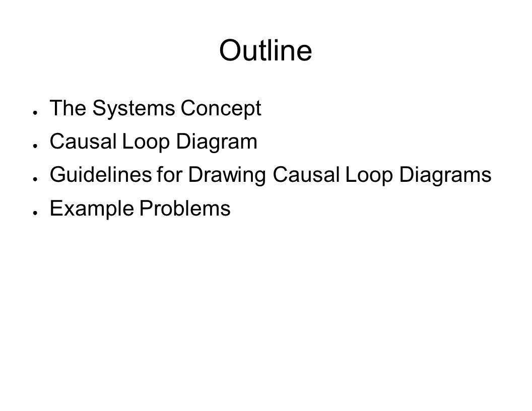 Outline The Systems Concept Causal Loop Diagram