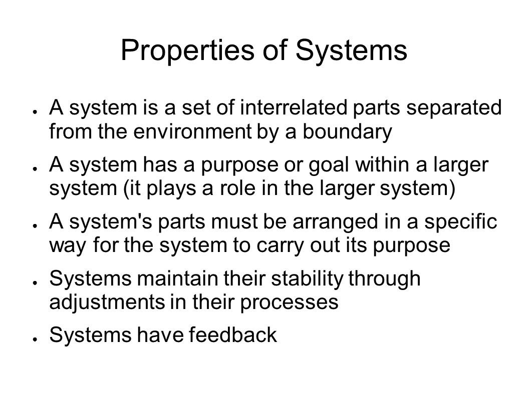 Properties of Systems A system is a set of interrelated parts separated from the environment by a boundary.