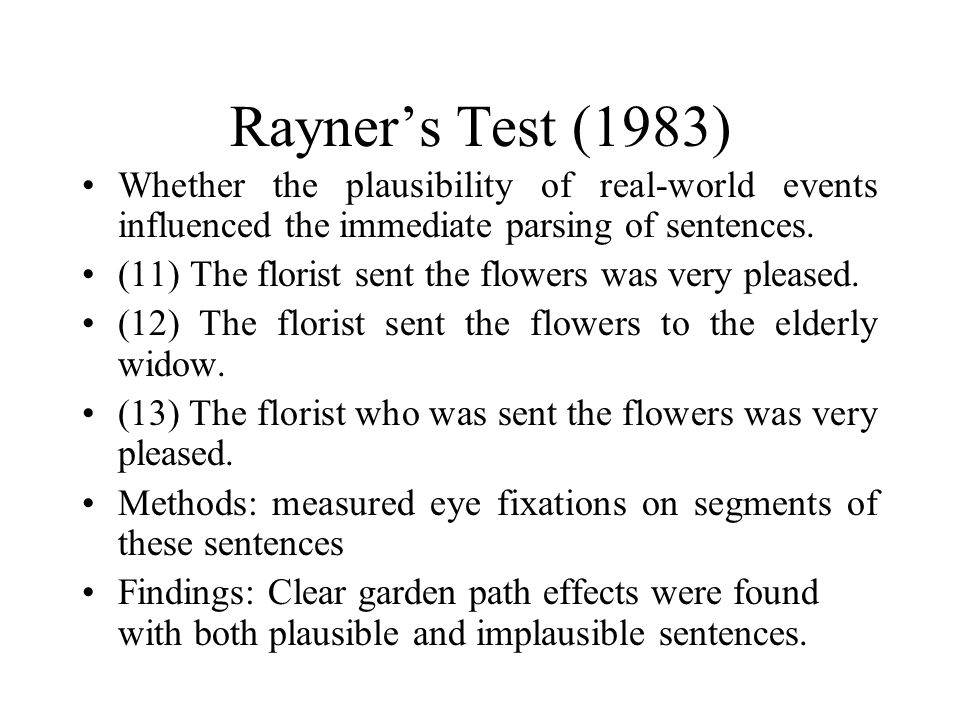 Rayner's Test (1983) Whether the plausibility of real-world events influenced the immediate parsing of sentences.