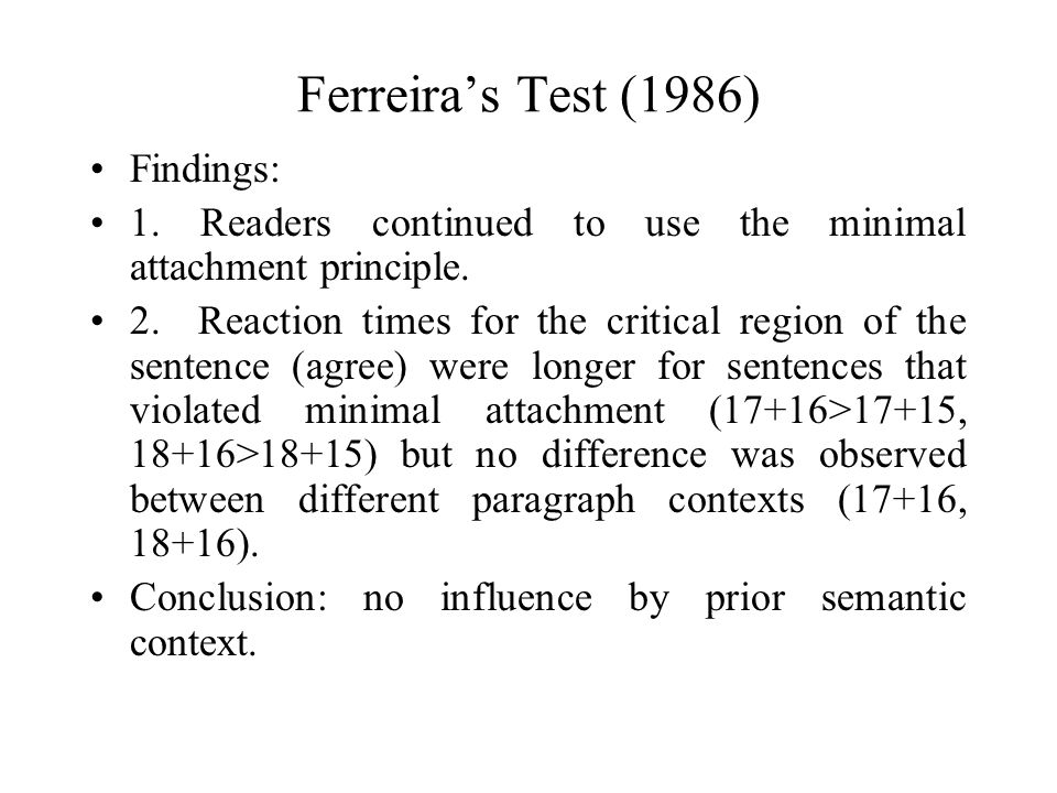 Ferreira's Test (1986) Findings: