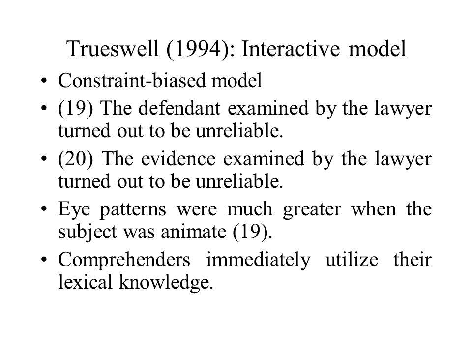 Trueswell (1994): Interactive model