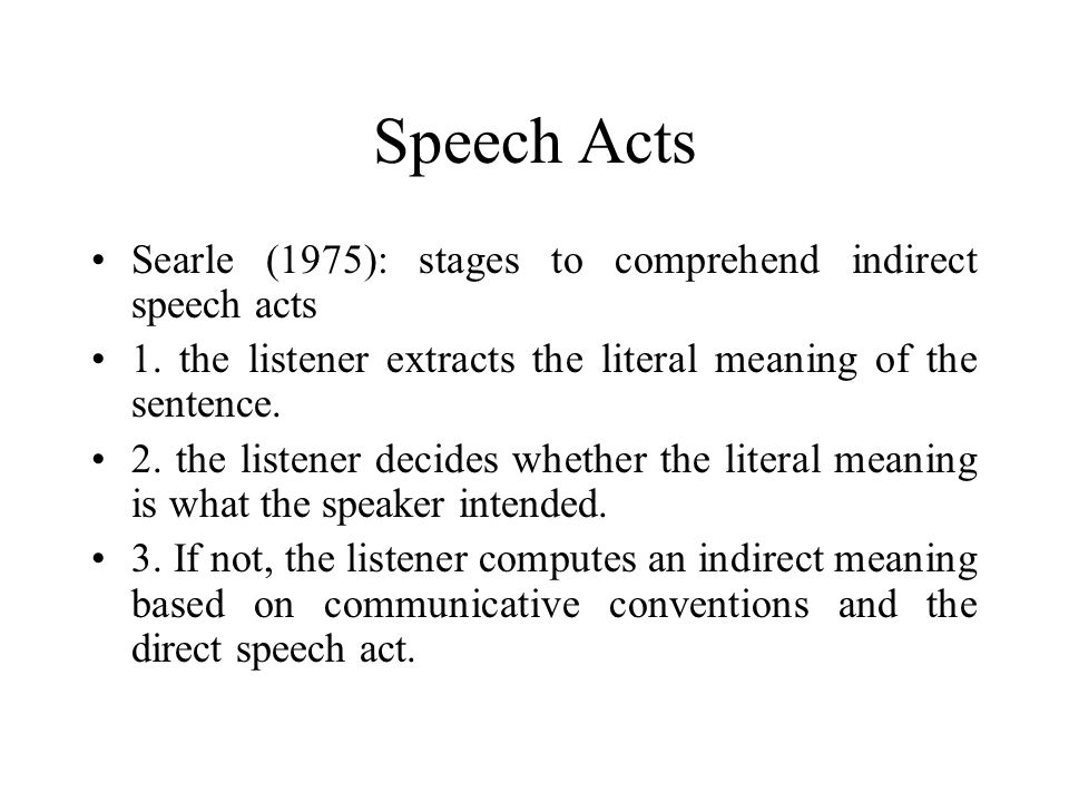 Speech Acts Searle (1975): stages to comprehend indirect speech acts