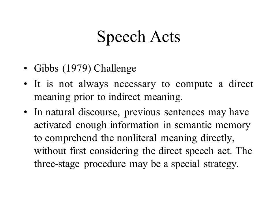 Speech Acts Gibbs (1979) Challenge