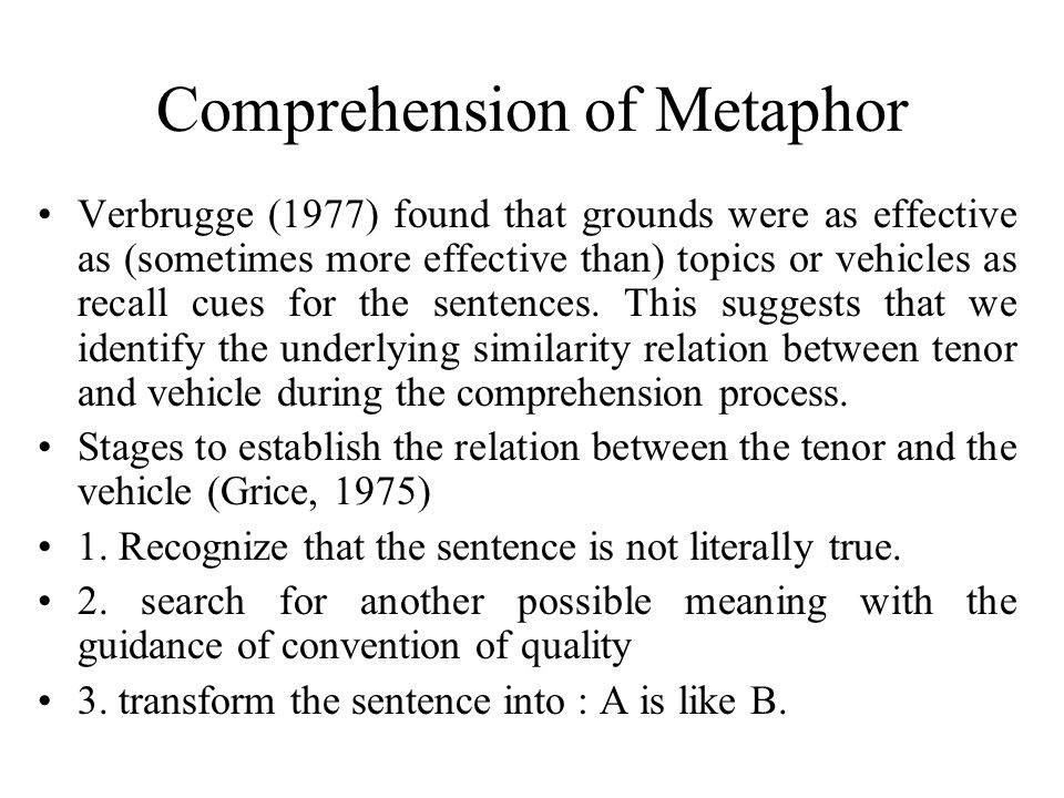Comprehension of Metaphor