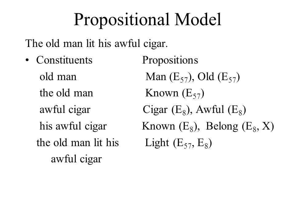 Propositional Model The old man lit his awful cigar.