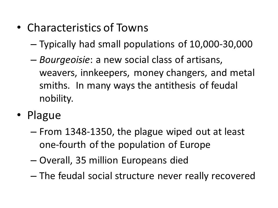 Characteristics of Towns