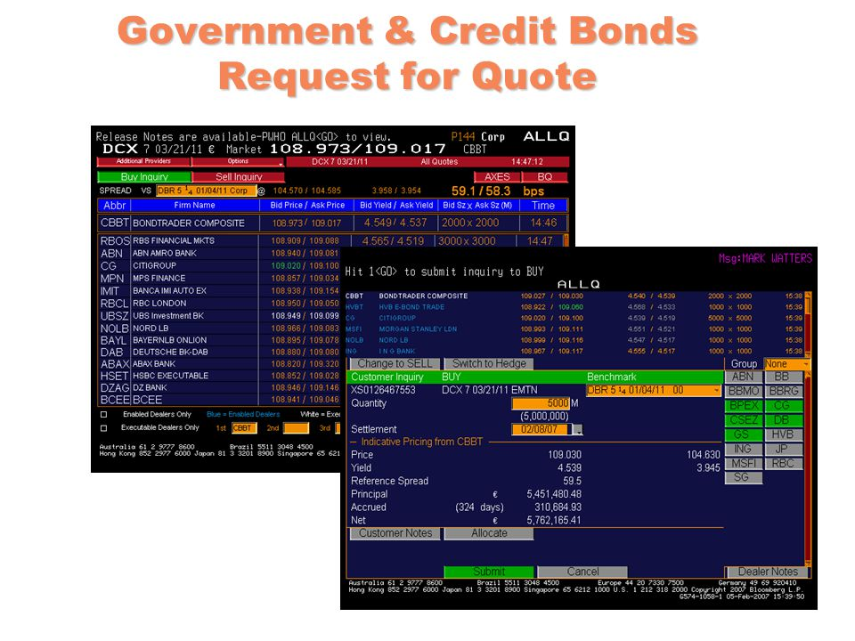 Government & Credit Bonds Request for Quote