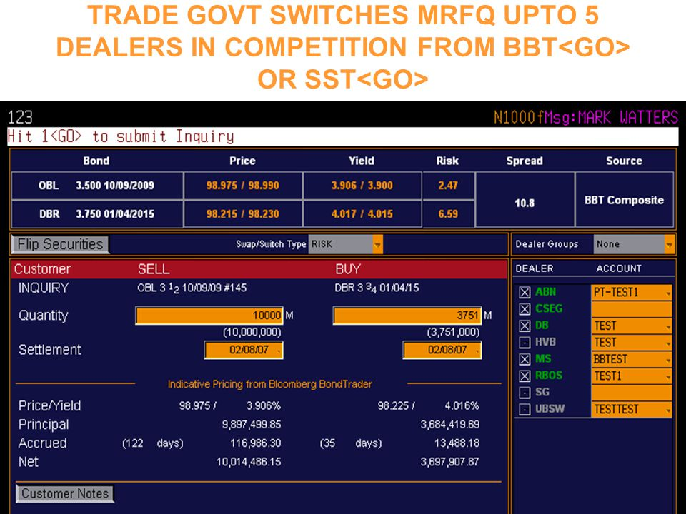 TRADE GOVT SWITCHES MRFQ UPTO 5 DEALERS IN COMPETITION FROM BBT<GO> OR SST<GO>