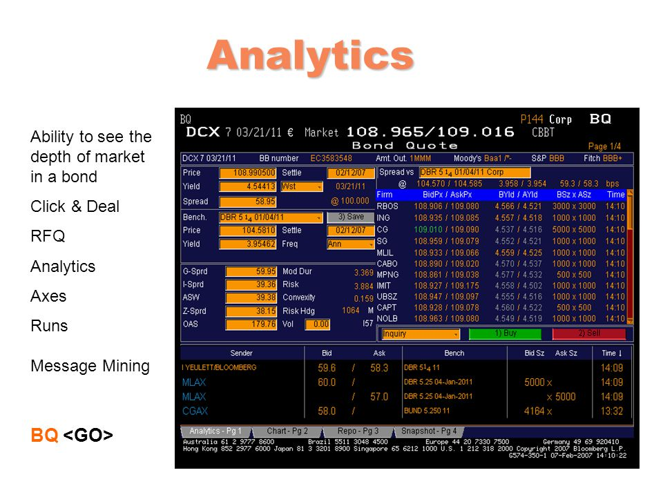 Analytics BQ <GO> Ability to see the depth of market in a bond