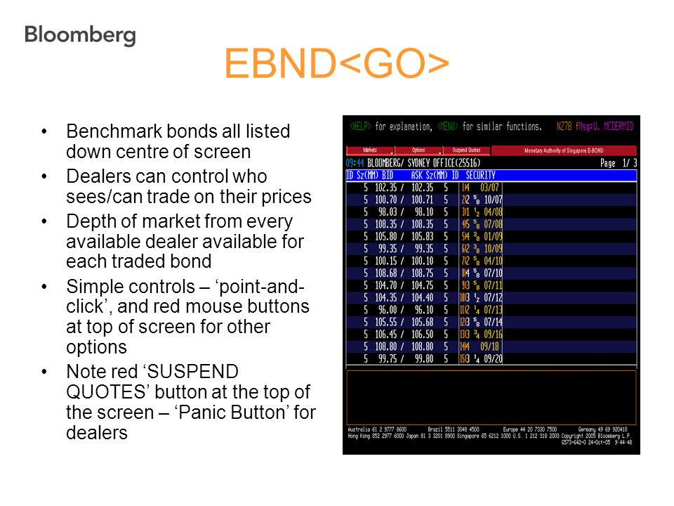 EBND<GO> Benchmark bonds all listed down centre of screen