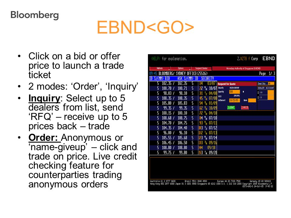 EBND<GO> Click on a bid or offer price to launch a trade ticket