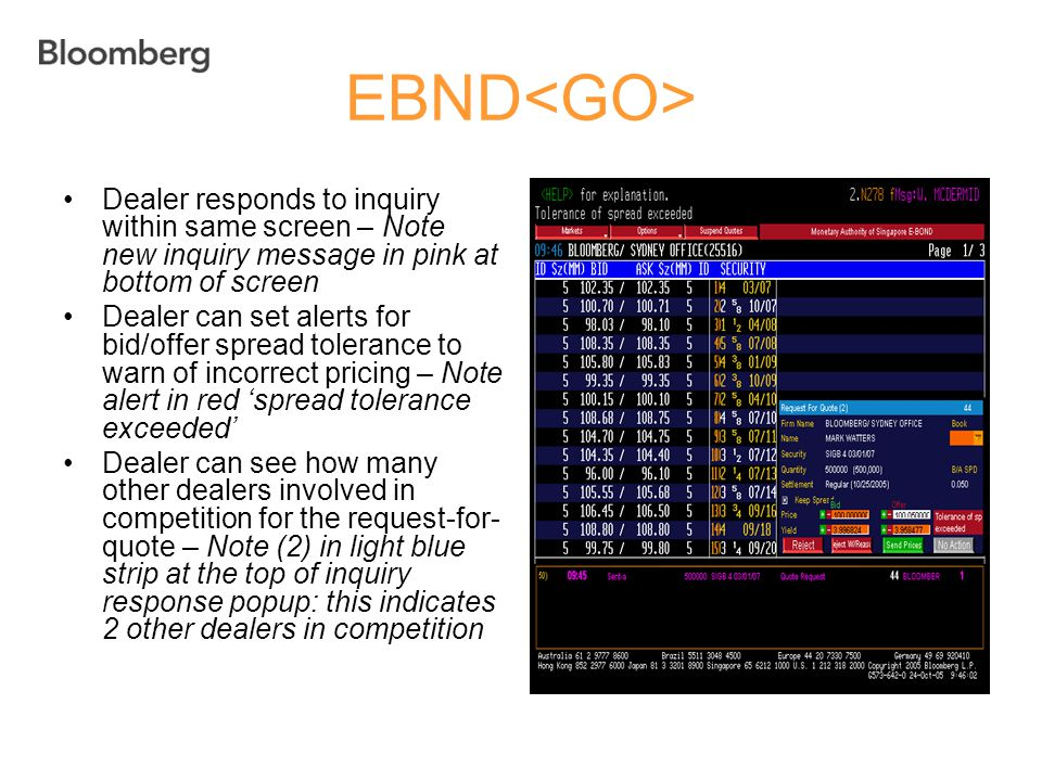EBND<GO> Dealer responds to inquiry within same screen – Note new inquiry message in pink at bottom of screen.