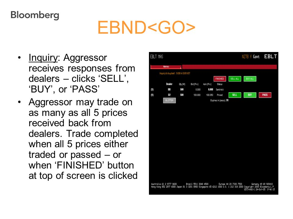 EBND<GO> Inquiry: Aggressor receives responses from dealers – clicks 'SELL', 'BUY', or 'PASS'