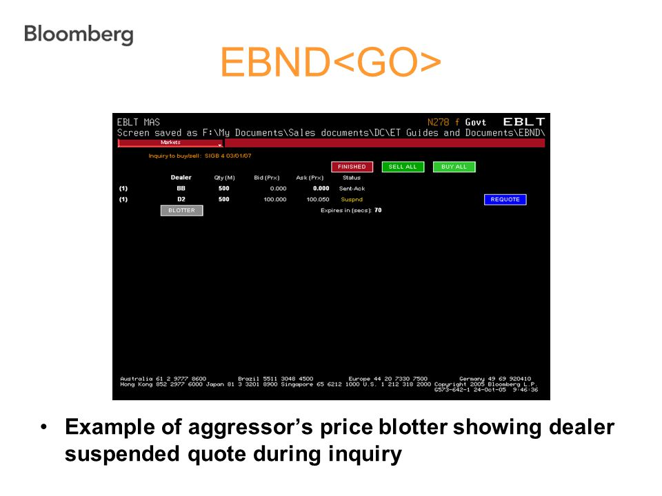EBND<GO> Example of aggressor's price blotter showing dealer suspended quote during inquiry