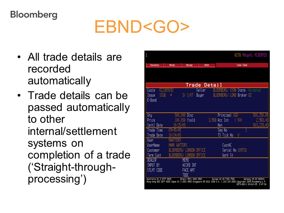 EBND<GO> All trade details are recorded automatically