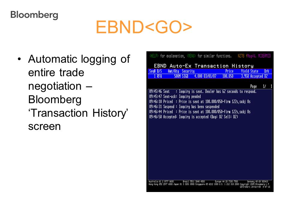 EBND<GO> Automatic logging of entire trade negotiation – Bloomberg 'Transaction History' screen