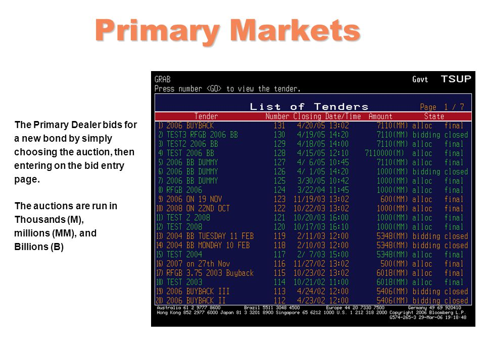 Primary Markets The Primary Dealer bids for a new bond by simply