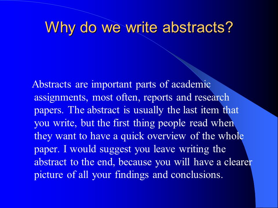 how to write an abstract for research papers How can i write a good research project abstract if this question remains acute for you, feel free to find a clear answer from this expert article.