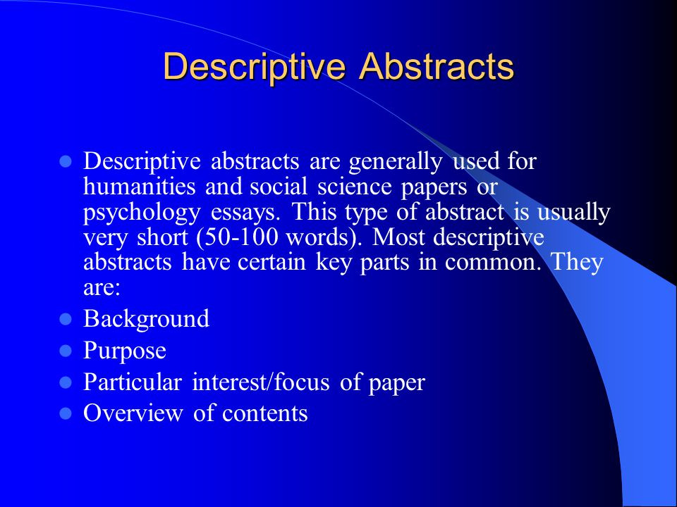 how to write a discriptive abstract for a report