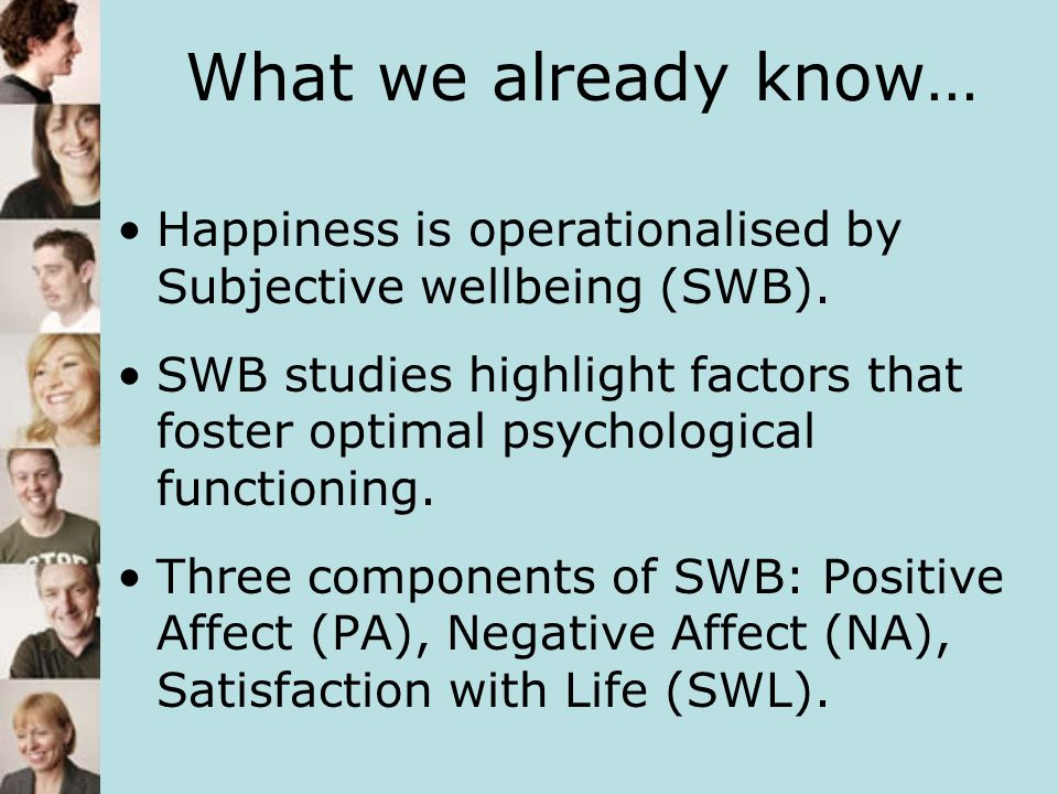 What we already know… Happiness is operationalised by Subjective wellbeing (SWB).