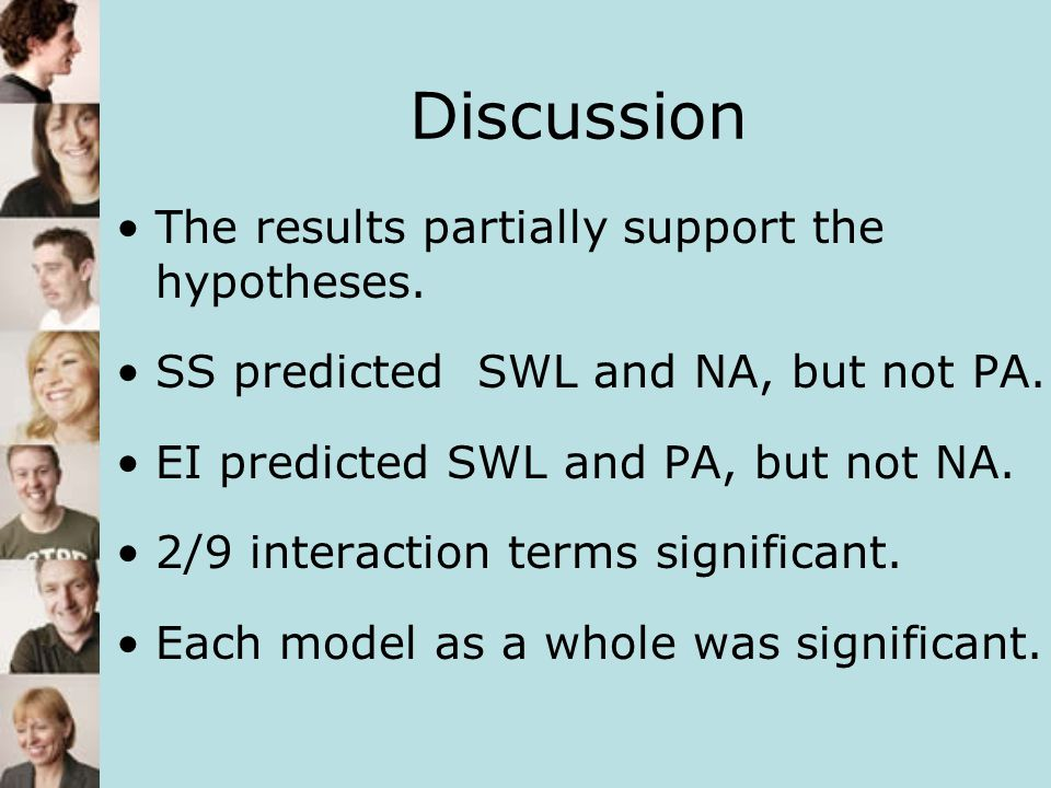 Discussion The results partially support the hypotheses.