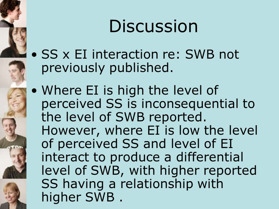 Discussion SS x EI interaction re: SWB not previously published.