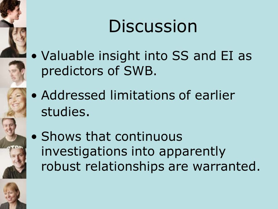 Discussion Valuable insight into SS and EI as predictors of SWB.