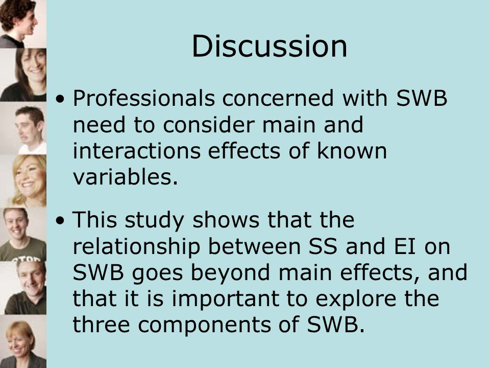 Discussion Professionals concerned with SWB need to consider main and interactions effects of known variables.