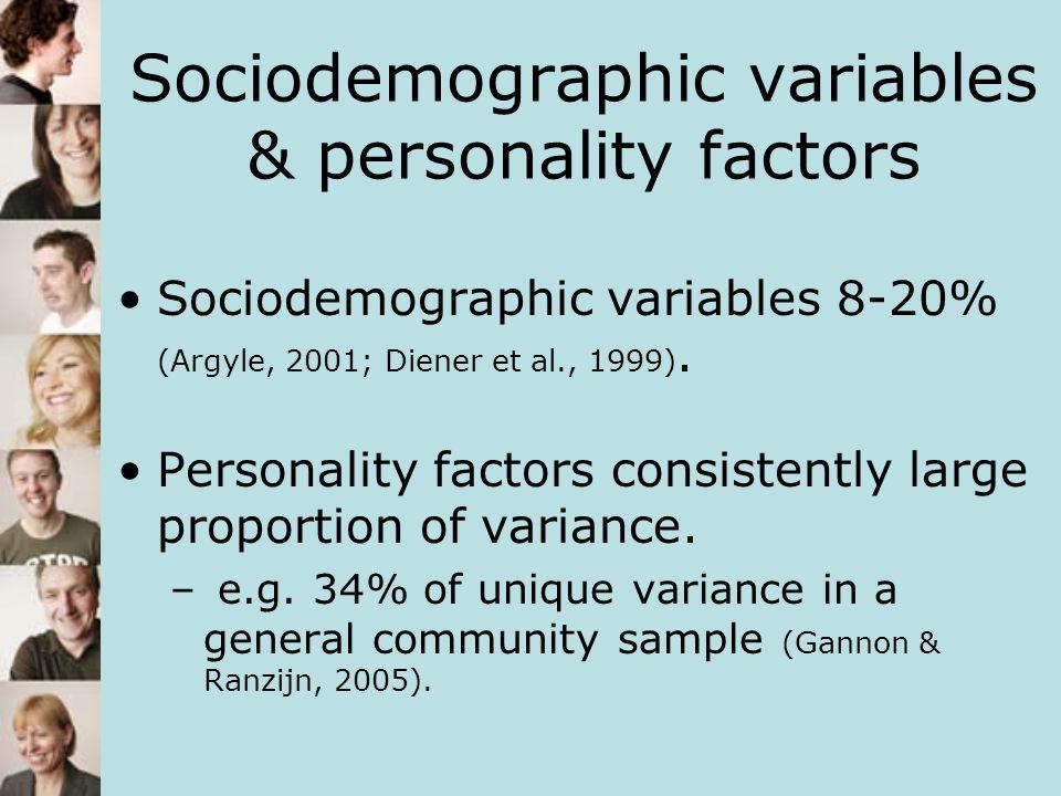 Sociodemographic variables & personality factors