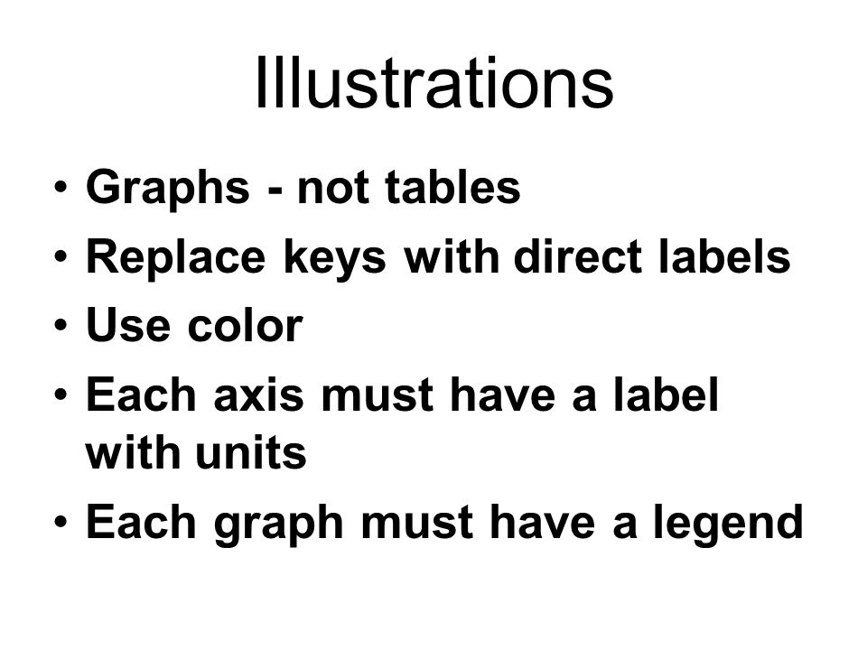 Illustrations Graphs - not tables Replace keys with direct labels