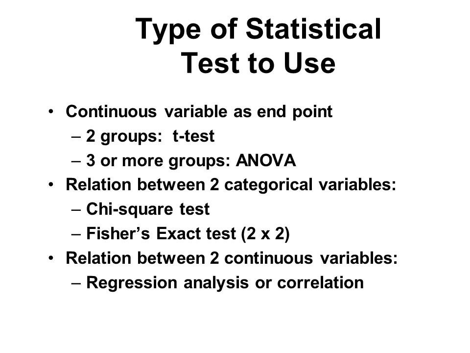 Type of Statistical Test to Use