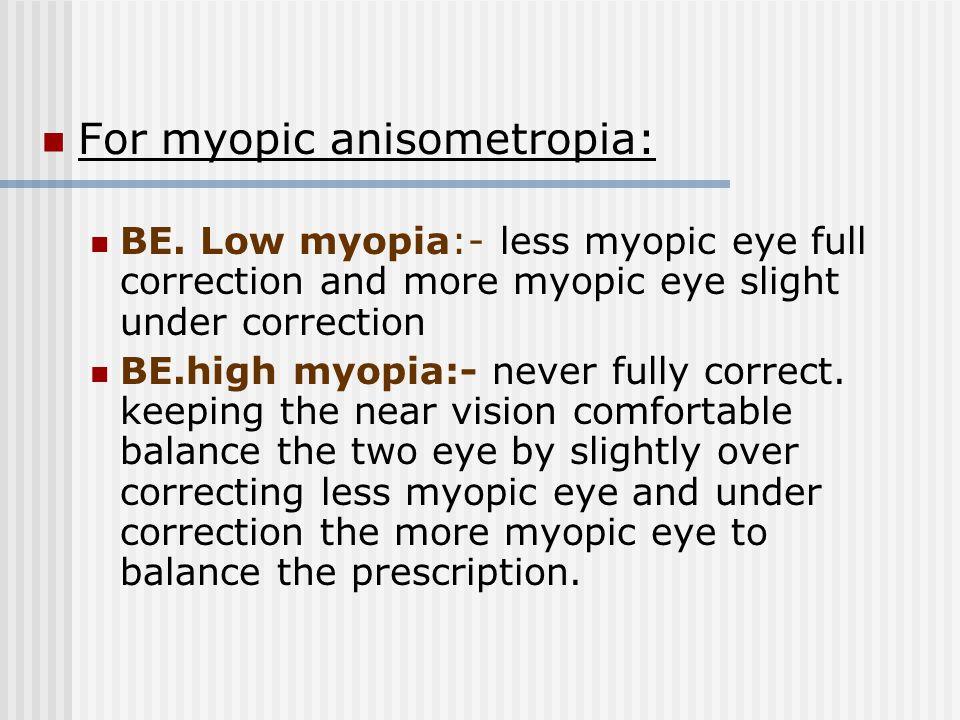 For myopic anisometropia: