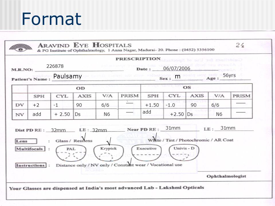 Format     Paulsamy m 226878 06/07/2006 56yrs +2 -1 90 6/6 +1.50
