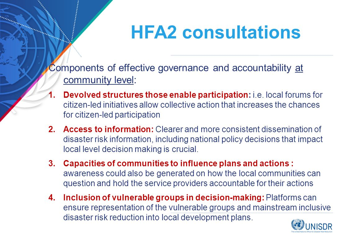 HFA2 consultations Components of effective governance and accountability at community level: