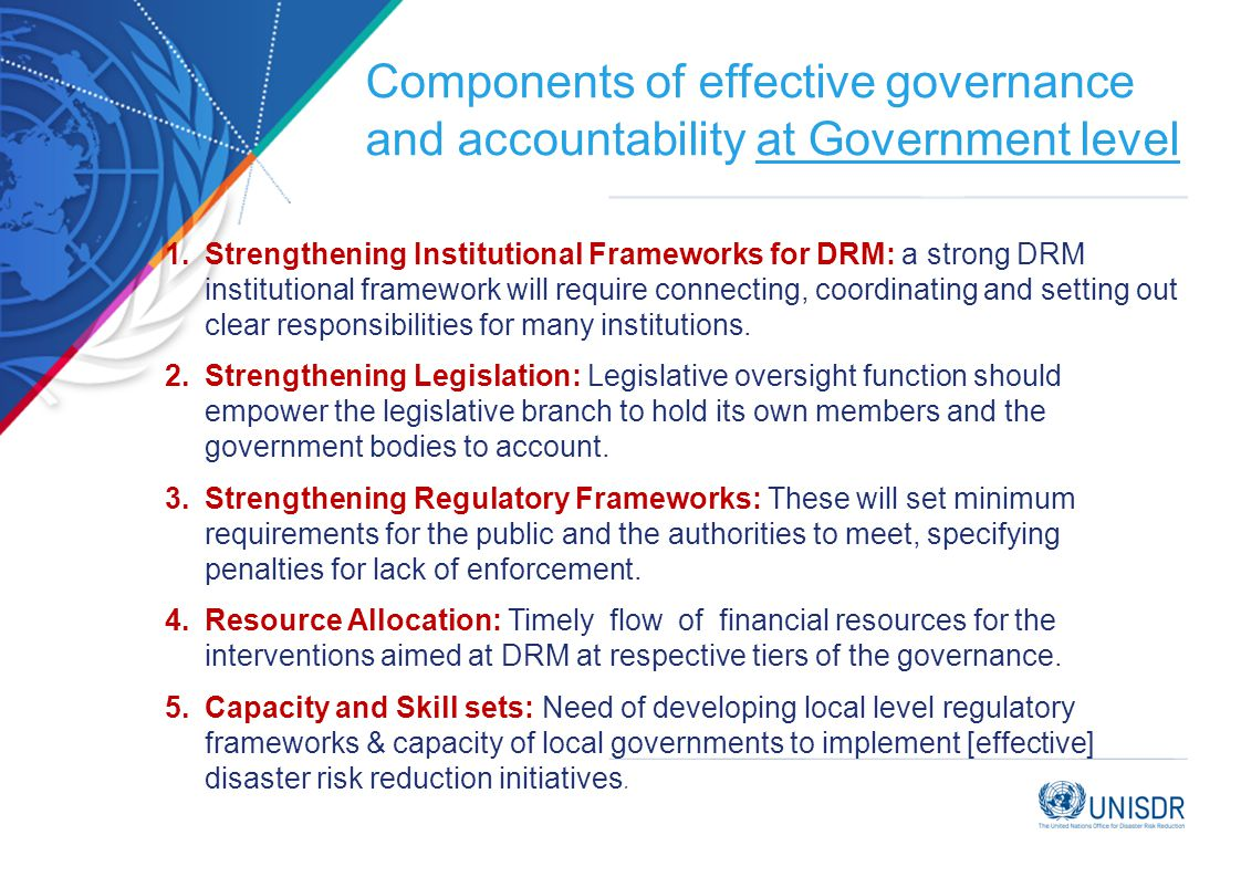 Components of effective governance and accountability at Government level