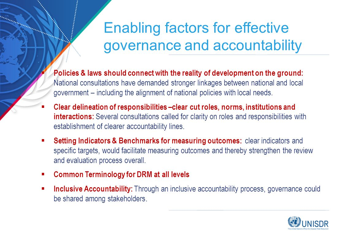 Enabling factors for effective governance and accountability